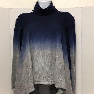 BCBG Max Azria Blue Gray Ink Poncho Sweater Top SM